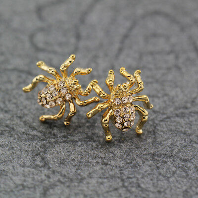 Women's 18K Gold Plated 3D Crystal Spider Stud Earrings Stunning Fashion Jewelry