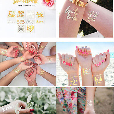 12Pcs/Set Gold Team Bride Temporary Tattoo Sticker Hen Party Bride To Be