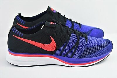 773652bf16e3 Nike Flyknit Trainer Mens Size 9 Running Shoes Black Blue Red AH8396 003  Raptors