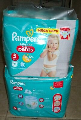 Couche culotte Pampers baby-dry nappy pants 5 12-17 kg 27-38 lbs Mega pack 144 -