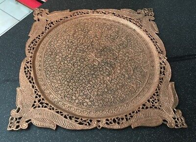 Vintage Islamic Indo Persian Mughal Engraved Etched Figural Square Drinks Tray