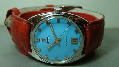 Superb Vintage Edox Automatic Date Swiss Made MENS Wrist Watch Old Used Antique