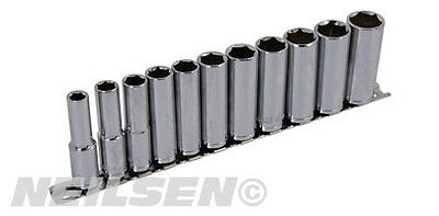 "Neilsen 3/8"" Drive Deep Socket Set On Rail 6 Point Hex Metric 8 - 19Mm Sockets"