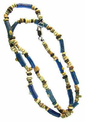 Egyptian Mummy Bead & Roman Glass 18-inch Necklace Restrung,circa 600-5th cen AD