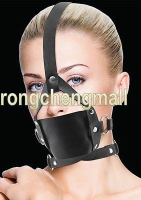 Faux Leather Head Harness Panel Ball Bondage Gag Restraint Mask Mouth