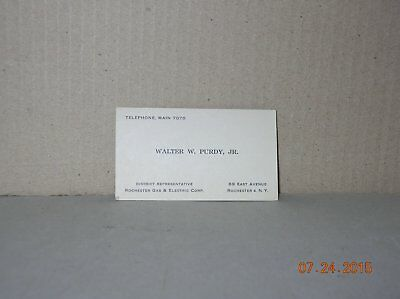Vintage Business Card Walter Purdy Jr Rochester Gas & Electric Webster Ny