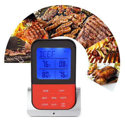 Wireless Remote BBQ Thermometer Kitchen Food Meat Cooking w/ Dual Probe OS989