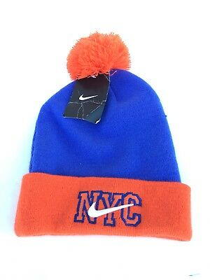 wholesale dealer 58ffa d3837 NWT Nike NYC New York City Winter Swoosh Logo Pom Beanie Hat Cap Adult Size