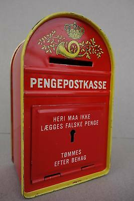 Vintage 195/60er Jahre Blech Spardose Penge Post Kasse Tin Money Bank