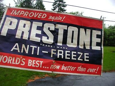 """Vintage  """" Prestone"""" Anti-Freeze Heavy Paper Sign with Crommets"""