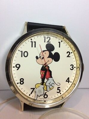 """Disney Welby Elgin Vintage Mickey Mouse Wall Clock Giant Watch 37"""" Display Rare"""
