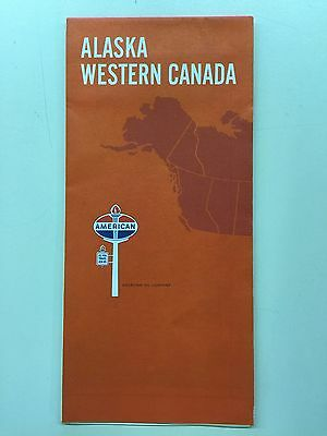 1967 Road Map Alaska and Western Canada American Oil Company