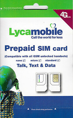 Lycamobile $19 $23 $35 $39 $45 $50 Sim Card With New Cell Phone Numbers!