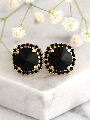 2Ct Round Cut Black Diamond Halo Stud Earrings 14K Yellow Gold Finish