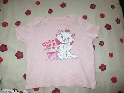 Disney Baby Aristocats Marie. Cute as a Cupcake T-Shirt. Girls Pink.