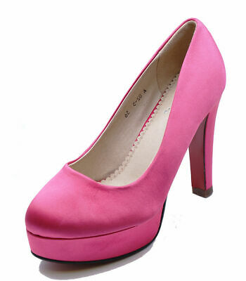 ab21b58c3b Ladies Pink Satin Slip-On Smart Work Wedding Party Court Evening Shoes  Sizes 2-