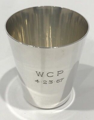 Vintage Cartier Sterling Silver Small Cup or Tumbler Monogrammed Trophy Bar Set