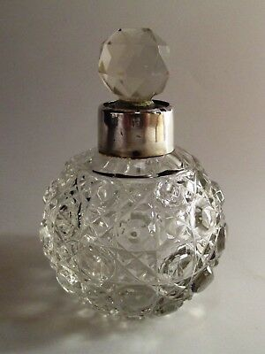 Antique Dressing Table Bottle With Silver Mount Chester 1901 Ref 881/2