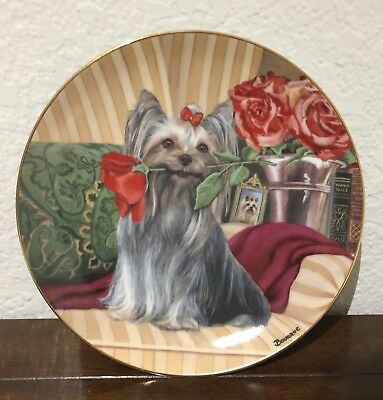 "Danbury Mint Yorkshire Terrier Dog ""Rosy Portrait"" Collectible Plate W/COA"