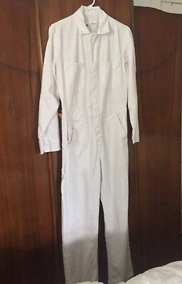 Bercowear Coverall Overall Mens Size 38R 100% Cotton White Light Weight Unisex