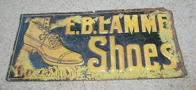 1900 Tin Embossed Clothing Sign E.B. Lamme Bozeman Montana Dude Tailored Suit