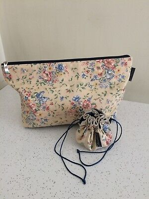 Longaberger Large Zippered Spring Floral Purse Or Cosmetic Bag & Jewelry Pouch
