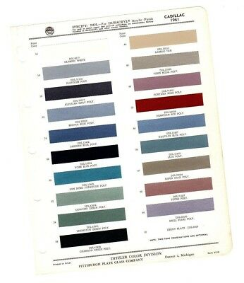 1961 CADILLAC Color Chip Paint Sample Chart Brochure: PPG