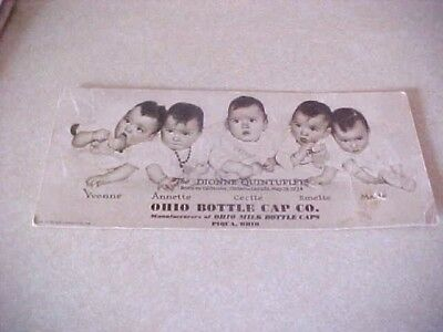 Vintage Ink Blotter Showing Quintuplets & Adv. Ohio Bottle Cap Co. Piqua, Ohio