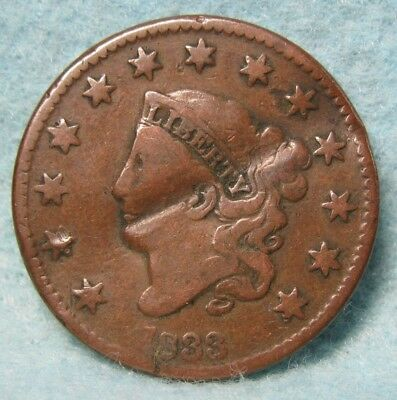 1833 Coronet Head Large Cent VG Details Rotated Reverse * US Coin *