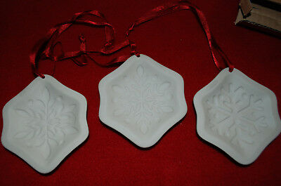 LONGABERGER Snowflake Cookie Mold Ornaments - Set of 3 - Brand New in Box 71478