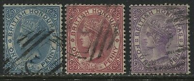 British Honduras QV 1882-84 1d's to 4d used