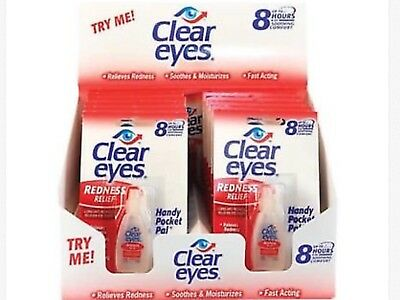 4 PACK OF CLEAR EYES  DROPS REDNESS RELIEF 0.2 OZ.6 ML exp 2019+ No box