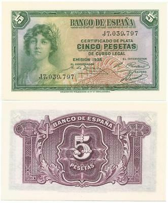 1935 Long Gone REPUBLIC of SPAIN Choice NEVER USED Cinco or 5 Pesetas CRISP NOTE