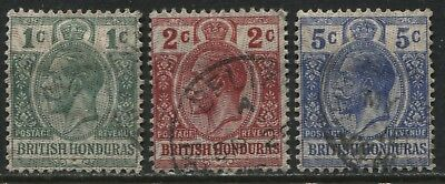 British Honduras KGV 1915 1 cent to 5 cents set moire overprint used.