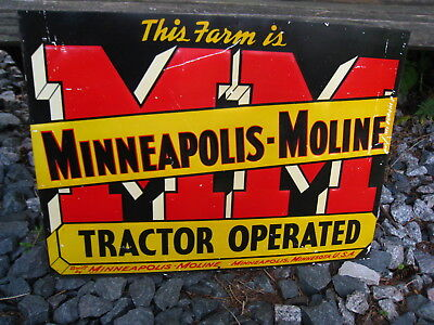 Rare Vintage Original Metal Minneapolis Moline Tractor Operated Farm Sign