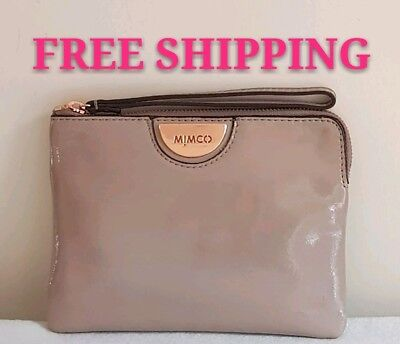 Free Post Mimco Echo Balsa Rose Gold Medium Pouch Patent Leather Wallet Rrp99.9