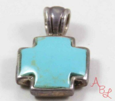 Sterling Silver Vintage 925 Cross Reversible Turquoise Pendant (4.4g) - 730334