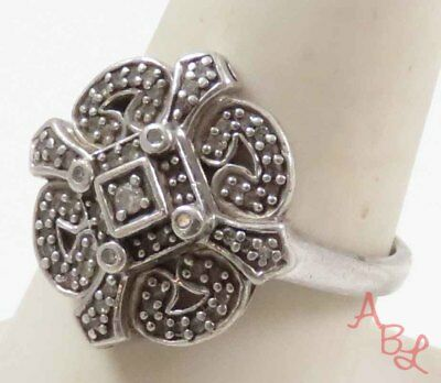 Sterling Silver Vintage 925 Protected Cross Diamond Ring Sz 8.5 (4.7g) - 730521