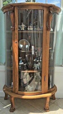 Antique Carved Triple Bow Front Oak China Curio Cabinet