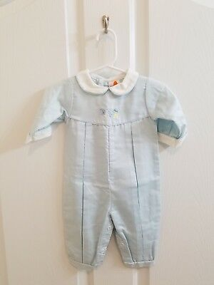 Vintage Baby Boy Boutique Blue ABC Blocks Collared Jon Jon Longall Size 3 Months