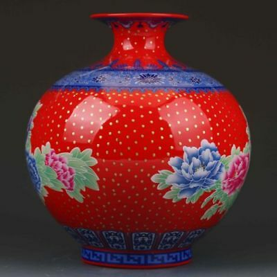 Chinese Color Porcelain Painted Peony Vase W Qianlong Mark  h