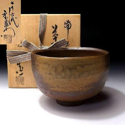 GD6: Vintage Japanese tea bowl of Bizen ware by Famous potter, Toko Kaneshige