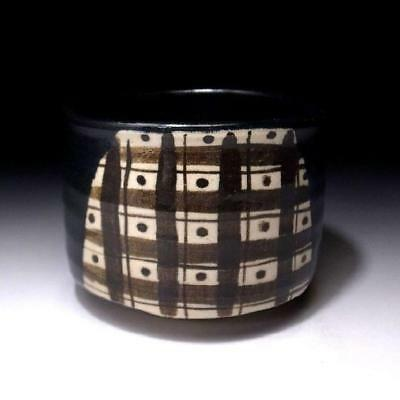 FD9: Vintage Japanese tea bowl, Oribe ware by Famous potter, Shuichi Sawada
