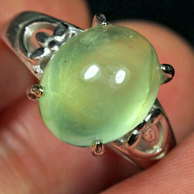 16.95CT 100% Natural 18K Gold Plated Green Prehnite Cab Ring UDPG159