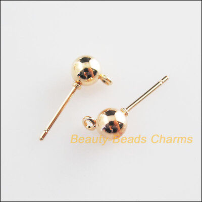 30Pcs Champagne Gold Round Ball Wire Earrings Hooks Findings 5x16mm