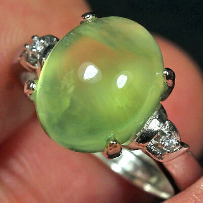 15.9CT 100% Natural 18K Gold Plated Green Prehnite Cab Ring UDPG164