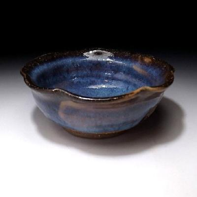 GD9 Japanese Pottery Bowl, Hagi ware by Famous Potter, Seigan Yamane, Blue glaze