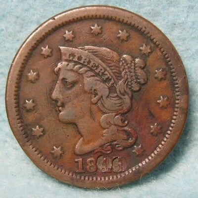 1845 Braided Hair Large Cent VF- Details * US Coin *