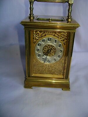 ANTIQUE FRENCH REPEATER CARRIAGE CLOCK c1880 W/MASKED DIAL & ORNATE PANELS + KEY