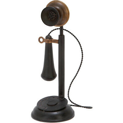 Antique Phone Model Receiver Microphone Metal Textured Iron Room Decor Accent